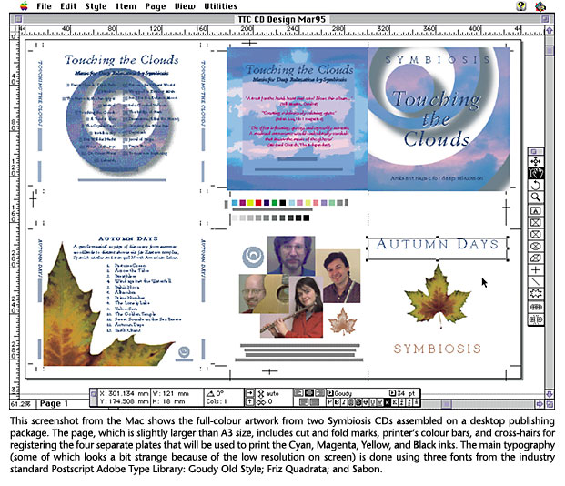This screenshot from the Mac shows the full-colour artwork from two Symbiosis CDs assembled on a desktop publishing package. The page, which is slightly larger than A3 size, includes cut and fold marks, printer's colour bars, and cross-hairs for registering the four separate plates that will be used to print the Cyan, Magenta, Yellow, and Black inks. The main typography (some of which looks a bit strange because of the low resolution on screen) is done using three fonts from the industry standard Postscript Adobe Type Library: Goudy Old Style; Friz Quadrata; and Sabon.